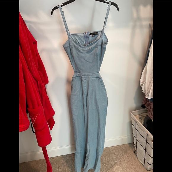 Denim jumpsuit with back cut out